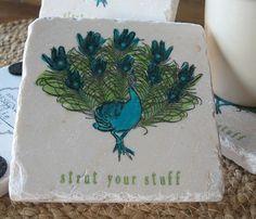 Strut Your Stuff Peacock Coasters  Love!!!! x10