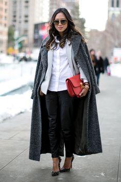 Work Outfit Ideas to Try This Winter - longline charcoal winter coat over a blazer + crisp white button-down and leather pants