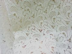ivory cotton lace fabric vintage floral lace by WeddingbySophie