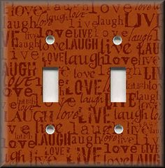 Light Switch Plate Cover - Live Laugh Love - Orange - Home Decor