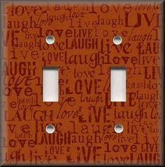 Light Switch Plate Cover - Live Laugh Love - Orange - Home Decor