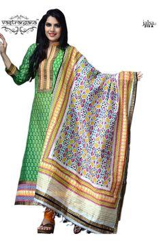 Buy Online Vastrangana Green Color Maheshwari Printed Pakistani Style Salwar Kameez at Best Price in India - Green Printed Salwar Suit for Clothing