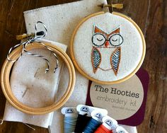 embroidery kit // The Hello Hooties  Eli Hootie by dioramatist, $18.00