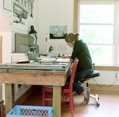 carson ellis, studio, workspace, desk, home, interior, style, artist at work