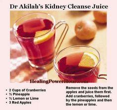 Kidney cleanse juice cranberries pineapple lemon apples