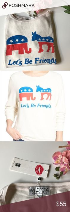 """New Wildfox baggy beach jumper let's be friends Brand new with tag.  Who says an elephant and a donkey can't be friends? Take the first step to bridging the political divide in a super-cozy, relaxed-fit pullover that showcases your positively patriotic outlook. - Scooped neck - Long sleeves - Oversized - Approx. 24"""" length - Imported Fiber Content 47% rayon, 47% polyester, 6% spandex Wildfox Tops Sweatshirts & Hoodies"""