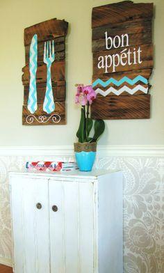 Bon Appetit Reclaimed Wood Kitchen Sign Wall Decor by MyLydia, $65.00