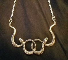 Ouroboros Auryn Snake Necklace Antique Silvertone Steampunk Gothic Edwardian  - Ideas of Snake Jewelry #SnakeJewelry