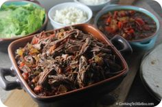 Machaca-Beef-Brisket-Slow-Cooker-Burrito-Bar from Cooking in Stilettos