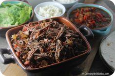 Machaca-Beef-Brisket-Slow-Cooker-Burrito-Bar from Cooking in Stilettos