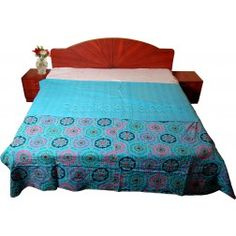 Beautiful Flowers And Leaf Printed Suzani Style Printed Kantha Bed Cover / Kantha Bedspreads / Gudri http://radhikatextile.com/our-products/o-kantha-gudaris.html