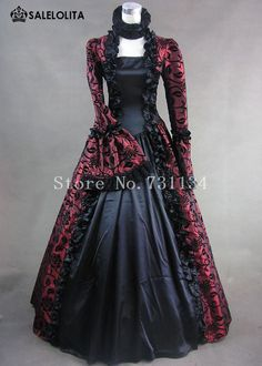 Wine Red Print Brocade Victorian Gothic Ball Gown.