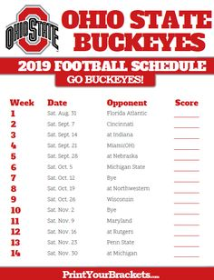 Print Ohio State Buckeyes Season Schedules in . List of University of Ohio State Buckeyes Football Match Ups and games. Who do the Ohio State Buckeyes Play Ohio State Football Schedule, Ohio Football, Osu Schedule, Schedule Printable, Football Season, Ohio State Rooms, Ohio State University, Buckeyes Football, Ohio State Buckeyes