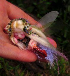 Tiny Sleeping Woodland Fairy by Celia Anne Harris OOAK - Made to Order