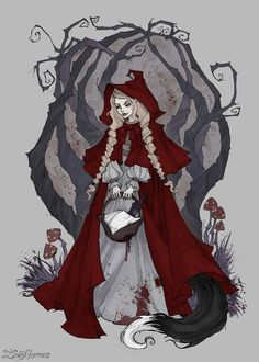 Updated (Music: Adrian Von Ziegler – Wolf Blood) Art prints, T-shirts, bags and other stuff with this piece available on Pig. Little Red Riding Hood Princesas Disney Zombie, Illustration Fantasy, Abigail Larson, Chesire Cat, Blood Art, Arte Obscura, Vampire, Witch Art, Disney Halloween