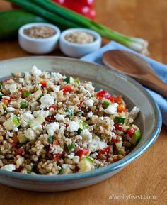 Lentils with Brown Rice and Feta - This hearty salad is made with lentils and brown rice, plus diced zucchini, sweet red peppers, scallions and feta cheese add a burst of fresh flavors to the dish.  Finished with a simple dressing of extra virgin olive oil and red wine vinegar – this salad can be a filling meal all by itself. (you can substitute feta with a soy based cheese)
