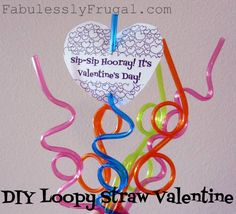 Loopy straws are a fun Valentines day idea for kids.