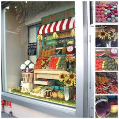 """_Everyone's going """"bananas"""" over Lion Brand Yarn Studio's newest window display! Chock-full of knit and crochet fruits and vegetables, the Farmer's Market-themed display features pineapples, apples, eggplants, cauliflower, corn, sunflowers and more!market"""