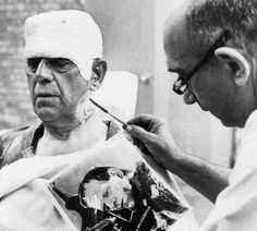 Boris Karloff aged 75 preparing to appear as Frankenstein's monster one last time for the TV show Route 66 (1962)