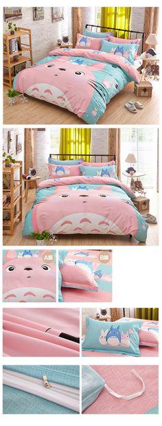 Buy Cute Totoro Bedding Set 3/4pcs Cartoon Jogo De Cama Unique Design Anime Bed Sheets Duvet Cover Twin Queen King XX601Z at animecrazystore.com! Free shipping to 185 countries. 45 days money back guarantee.