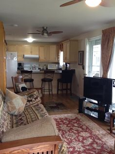 Cottage for Rent in Westport sleeps and has fully equipped kitchen with bar counter. 10 minute walk to the village of Westport. Westport Ontario, Kitchen Bar Counter, Cottage, Dining, Home Decor, Food, Decoration Home, Room Decor, Cottages