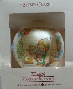Vintage 1984 Hallmark Betsey Clark Glass Christmas Ornament with Box
