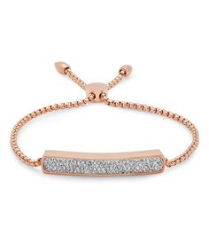 This Simulated Diamonds & Rose Gold Adjustable Bracelet is perfect! #zulilyfinds