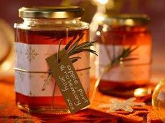 Apple, port and rosemary jelly: Don't go empty-handed to your festive feast - take the host this homemade jelly. Jelly Recipes, Pureed Food Recipes, Canning Recipes, Homemade Jelly, Homemade Gifts, Fruit Preserves, Apple Butter, Fruit And Veg, Spice Mixes