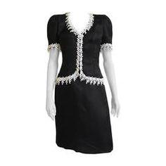 Carolina Herrera 80s black silk dress size 8.