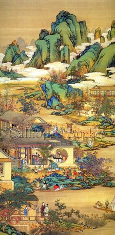 """Scenes along a river, ink on silk.(all artworks are sold without the """"Calliope's Bucket"""" stamp) Chinese Landscape Painting, Korean Painting, Chinese Painting, Landscape Art, Landscape Paintings, Traditional Paintings, Traditional Art, Japanese Prints, Japanese Art"""