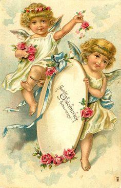 Victorian Angels Trade Card ~ Rosas de Verônica