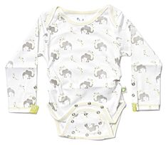 Posheez Snap'n Grow Organic Cotton Adjustable Baby Bodysuit - Elephant Print - Long Sleeve. Any Size, Any Shape ... Perfect Fit! Posheez Fit!