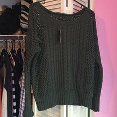 Olive green sweater American eagle olive green sweater! NWT! Never worn! Great condition American Eagle Outfitters Sweaters Crew & Scoop Necks
