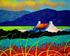 Turquoise Meadow And Poppies Painting by John Nolan