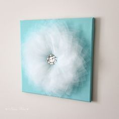 Tiffany blue Wall decor Flower Decoration Wall hanging Girls bedroom Chic Teen decor Wedding Decor Aqua and White Set of THREE Canvas Art