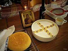 Koliva and Prosfone, icon, candle and wine ready to be taken to Church. Orthodox Christianity, Candles, Traditional, Eat, Desserts, Food, Wine, Greece, Design