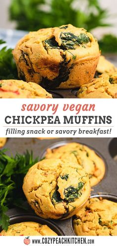 Vegan chickpea muffins are an easy & savory alternative to traditional breakfast muffins! These healthy muffins are made with chickpea flour and veggies for a filling snack or breakfast. #breakfast #veganmuffins #chickpeaflour #vegan