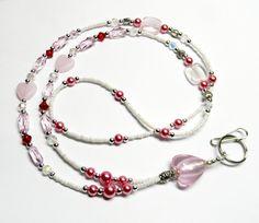 Beaded Lanyard ID Badge Holder HEARTS in PINK by FlyingWing Lanyard Necklace, Beaded Necklace, Necklaces, Jewelry Crafts, Handmade Jewelry, Bead Jewelry, Jewelry Ideas, Nurse Gifts, Teacher Gifts