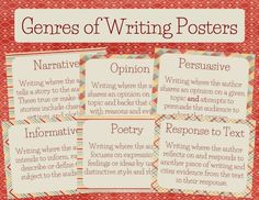 This is an attractive set of jewel-toned posters that define the following six genres of writing:  narrative informative opinion persuasive poetry response to text