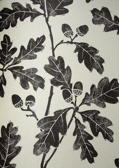 Oakwood Wallpaper Light cream wallpaper with print of oak leaves in black