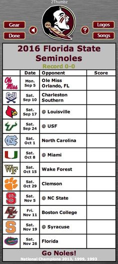 2016 FLORIDA STATE SEMINOLES | Football Schedule