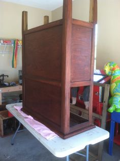 Staining the cabinet