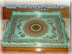 wooden tray decoupage sanela art