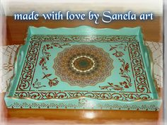 wooden tray decoupage sanela art