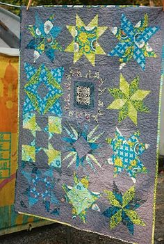 Fabulous color choices in this quilt by Dana Kaar Bolyard, which was raffled off to raise money for Joplin, MO.