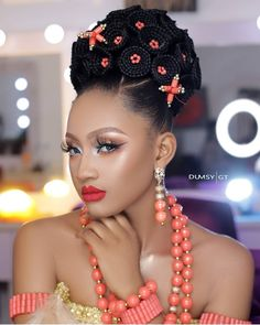 Image may contain: one or more people and closeup Nigerian Wedding Dresses Traditional, Traditional Wedding Attire, Bridal Beauty, Bridal Makeup, Bridal Hair, Natural Hair Updo, Natural Hair Styles, African Hairstyles, Girl Hairstyles