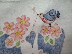 elefantz pencil colored hand embroidery