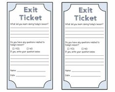 Exit Ticket Template Printable | teaching | Pinterest | School ...