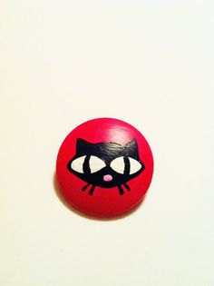 SALE -35% Black Cat on a red background - hand painted brooch