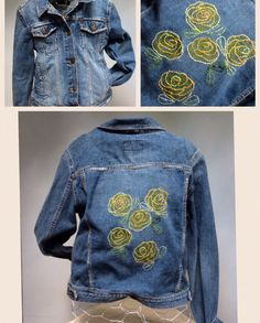 Hand Embroidered denim jacket, embroidered with abstract yellow roses.  Super boho chic, denim is the new black this fall! 64.99